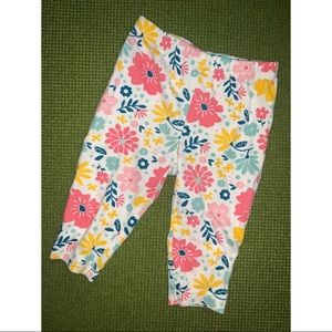 White colorful floral leggings